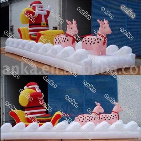 Santa e rena com trenó luz para decoração ao ar livre