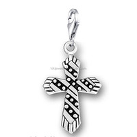 Hot Selling Zinc Alloy Two Tones Metal Lobster Clasp Passion Cross Charms