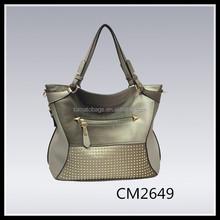 metalic silver grey studded women shoulder tote bag