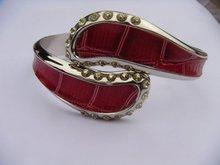 Fashion accessories cheap leather bracelet metal bangle