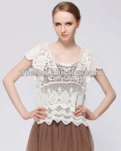 European Style short sleeve embroidery water soluble lace summer Hollow out white casual crochet blouse