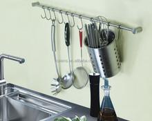 Steel Utensil Bar decorative Wall Pot Rack with Utensil Hooks