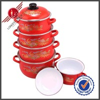 China Red Non-stick Porcelain Enamel Cookware Sets