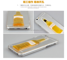 Moving Liquid Beer 3D Red Wine Cup Transparent Hard Back Cover Case For iPhone 6