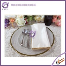 #17799 elegant event wedding decorations gold rim glass charger plates