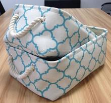 Set 2, fabric decorative storage box with cotton rope handle