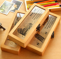 creative delicate lovely wooden pencil case original natural wooden multifunction foldable writing case WM2030