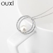 OUXI fashion jewelry 925 sterling silver pearl necklace cystals from Swarovski Y10012