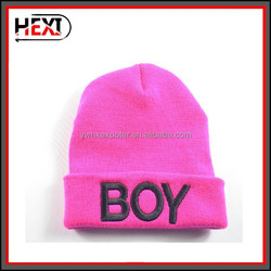 Fashion wholesale acrylic jacquard winter knitted hat,handcrafted crocheted hat with embroidery logo