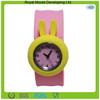 Cute rabbit shape silicone slap wristband watch for kids