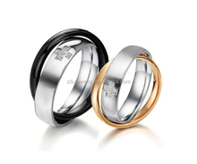 High quality new design two rings cross twisted couple wedding rings, cross shape zircon inlay stainless steel engagement rings