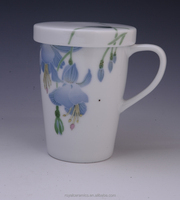 2015 new design Environmental protection and health tableware Hand Painted Underglazed Porcelain ceramic mug with lid