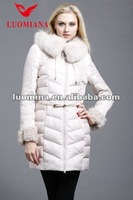 2014-2015Wholesale ladies with collar winter overcoat with wool cuff