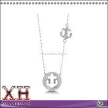 Jewelry Show Hot Model Sterling Silver CZ Cut-out Circle Anchor Necklace