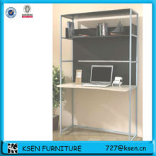 KD structure Metal frame,wood top study table with wall shelves