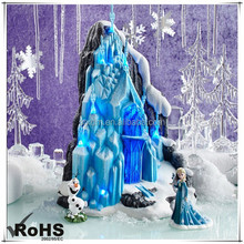 Hot sale Frozen Elsa's Ice Palace Lighted Figurine with Elsa Anna for Christmas gift, Custom Resin Cartoon figurine maker