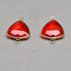 Wholesale Brass Bezel Link Connector Faceted Triangle Red Glass Link