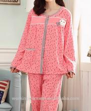 Pijama de dormir gran salón de más tamaño mujeres pijamas mujer otoño invierno de algodón 100% para la