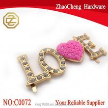 "2015 wholesale Luxury ""LOVE"" With Crystal For Elegant Handbag Metal Decoration Accessories"
