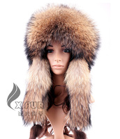 CX-C-160B Warmer Natural Color Genuine Raccoon Fur Russian Hat