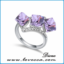 White Gold Plated 0.5ct Brilliant with Pave Cubic Zirconia Gemstone Crystal Ring