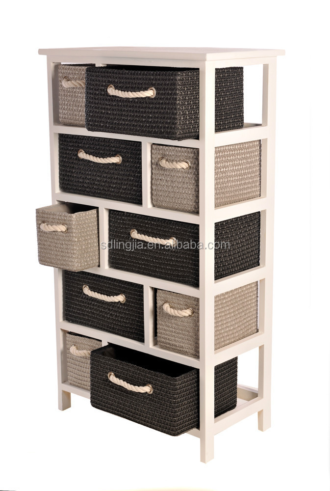 Plastic chest of drawers cabinet home organizer woven