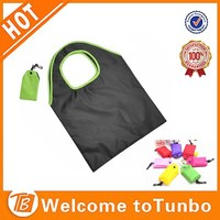Black fold up shopper with pocket printed custom made reusable bag shopping bag