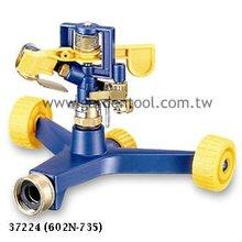Metal Impulse Sprinkler with 2-wheel metal base and brass swivel nut