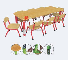 Nursery School Furniture Eight Kids Wooden Study Table and Chairs
