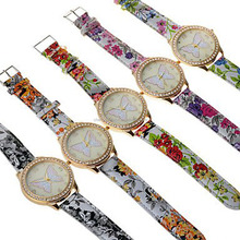 pringting flower geneva fashion leather band watch with cheap price and good quality