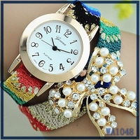 Gift for girls ! New fashion cute handcrafted Woven quartz watch, luxury pearl bowknot decoration fabric watchband party watch