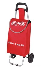 Supermarket Hand Push Plastic Shopping Cart Foldable Shopping Trolley Bag