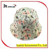 2016 girls cotton canvas pretty birdy print reversible bucket hat