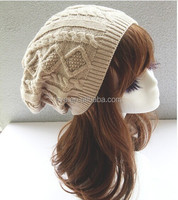 New arrive winter twist knitted unisex slouch beanie hat