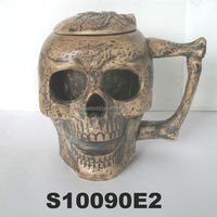 halloween skull design ceramic beer steins with lid new beer mug