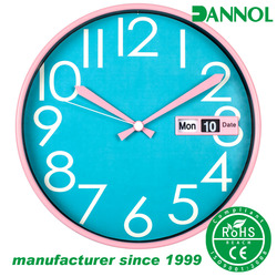 12 inch plastic home goods fancy decorative wall clock with day and date