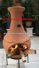Chi-0777L Terracotta Red Clay Chiminea Stove With Iron Stand