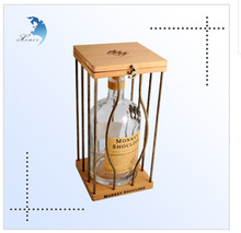 New style factory price wooden wine cage for whisky bottles with ornamental iron work