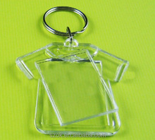 2014 high end acrylic photo frame key chain with iron hoop wholesale