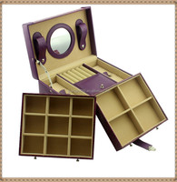 PU leather cover, high quality MDF jewelry gift box with mirror