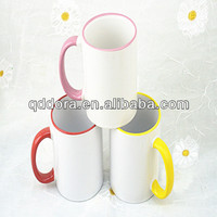 11 OZ Sublimation White Ceramic Mug With Colored Rim and Handle