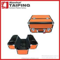 Orange Heavy Duty Aluminum Tool Box Hairdresser Grooming Tool Carrying Case