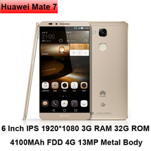 New Products High Quality Smartphone Huawei Ascend Mate7 Smart phone 6 inch Octa Core 3GB +32GB Cell Phone