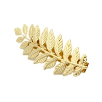contracted style multi leaves single big hair pins pure gold zinc alloy barrettes for women