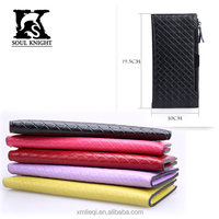 SK-6037 100% genuine leather woven leather with zipper women wallets