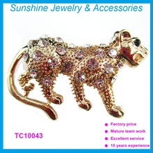 Sunshine fashion jewelry made in china wholesale Tiger shape animal brooches