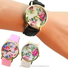 Fashion Faux Leather Geneva Rose Flower Watch Dress Quartz Watches