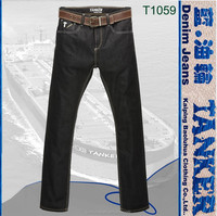 T1059 Tanker Original quality 100% cotton leisure men crinkle denim zipper back pocket jeans