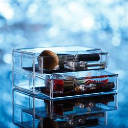 Transparent Acrylic Makeup Organizer Storage Box Jewelry Display Cases With 2 Drawers