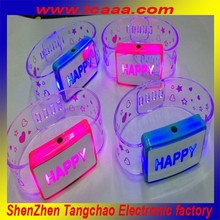 Led light flashing glow in the dark led bracelet,wholesale christmas craft supplies